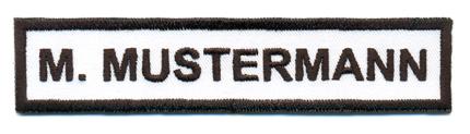 Max Mustermann gesticktes Namensschild
