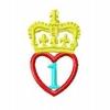 Stickmuster 1 Jahr Herz mit Krone 4,80 EURO