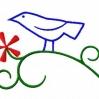 Stickmuster Stickdatei Vogel auf Zweig mit Bluete 3,60 EURO